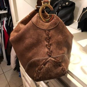 Authentic Brown Leather Gucci Bag w Gold Detailing